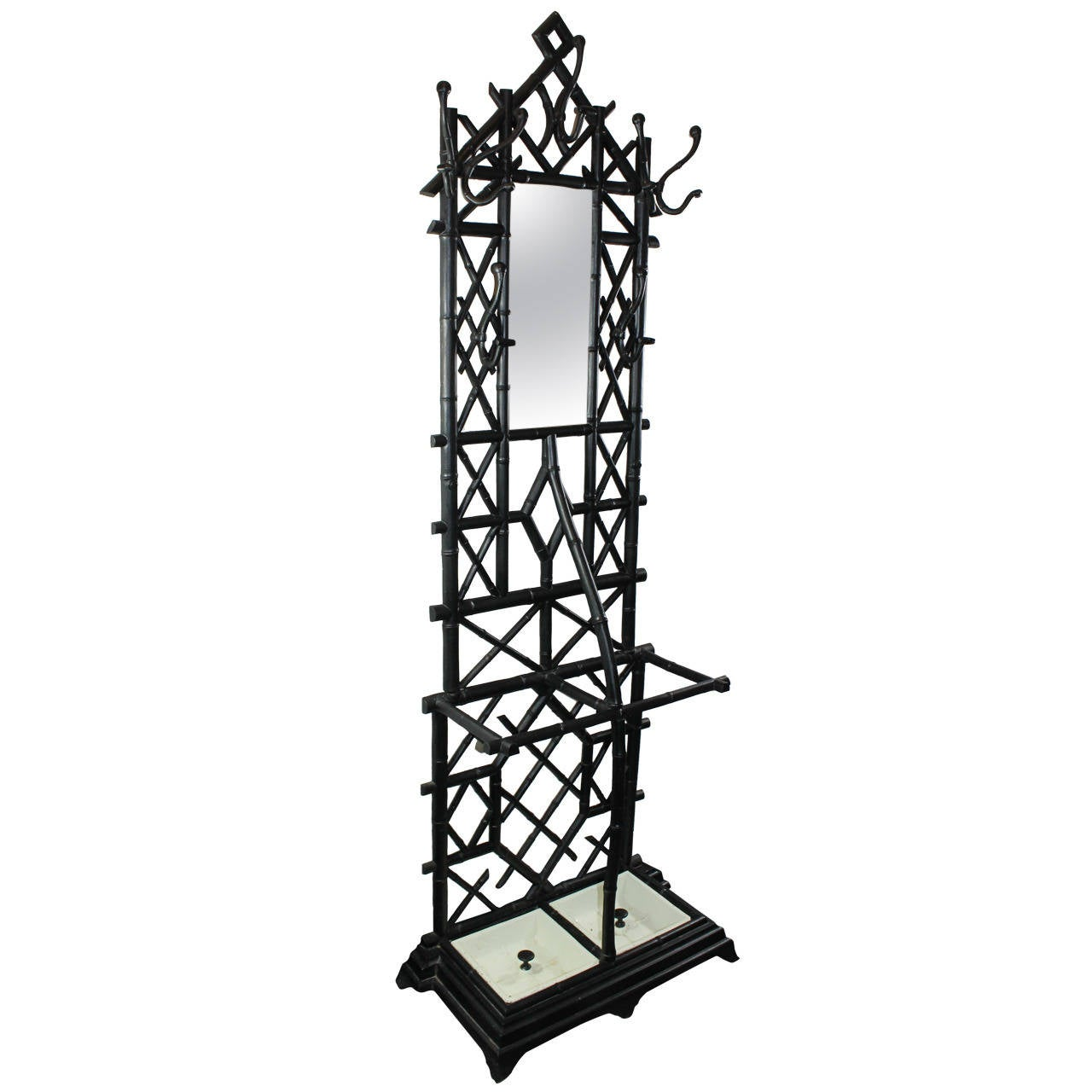 Coat Stand in Cast Iron with Umbrella Stand and Mirror For Sale