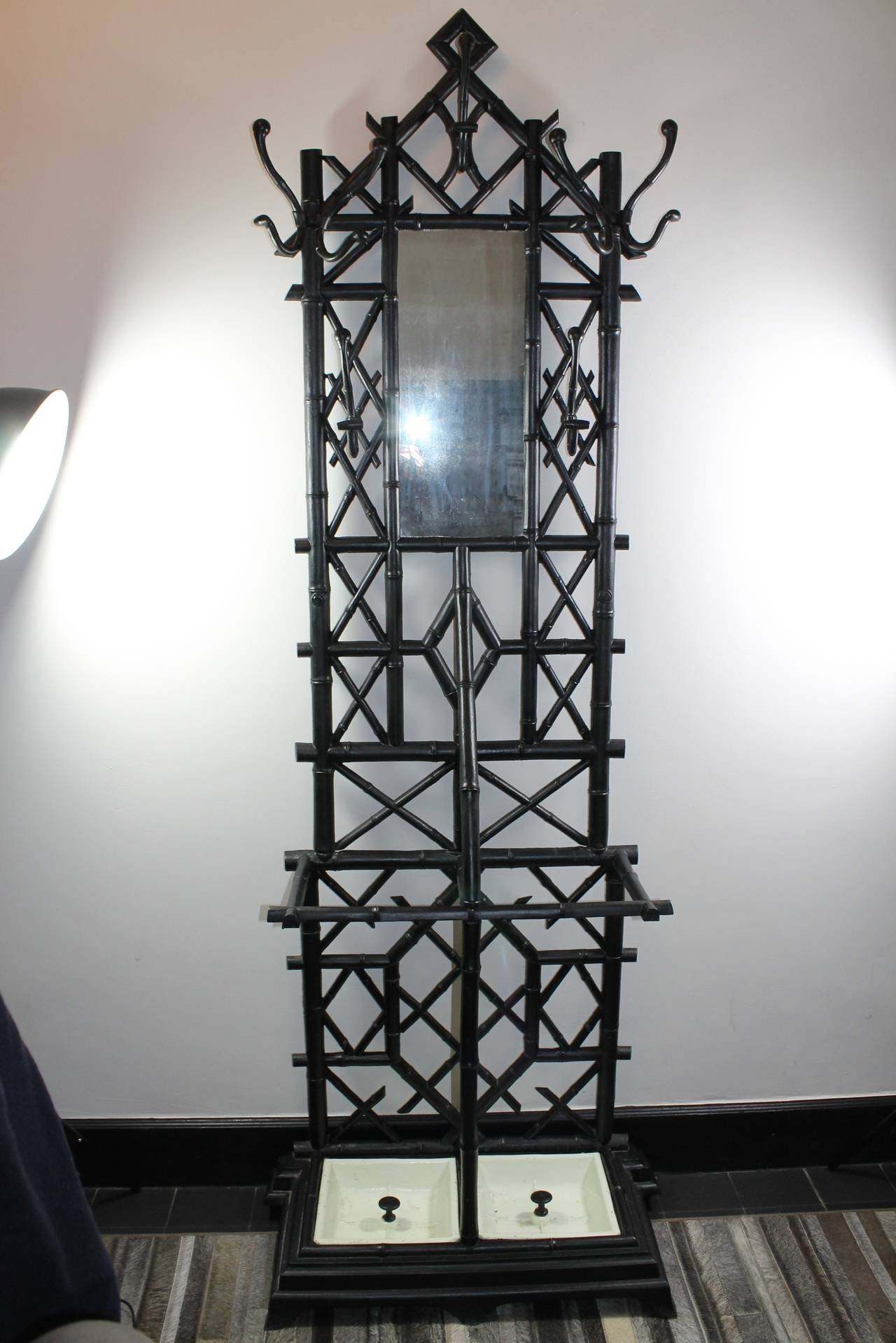 Coat Stand in Cast Iron with Umbrella Stand and Mirror 2