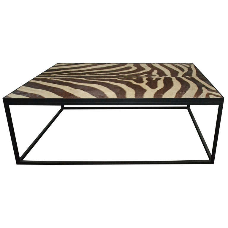 Coffee Table With Top Of Zebra Skin 1