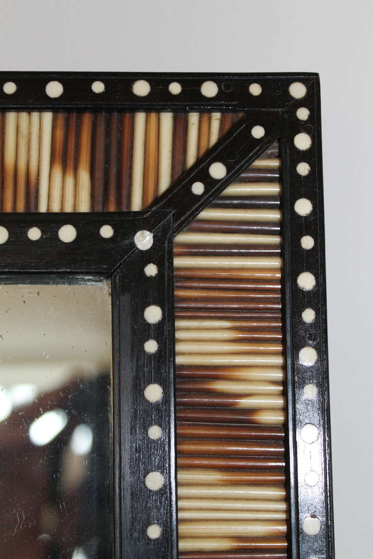 A Mirror With A Frame Of Porcupine Quill At 1stdibs