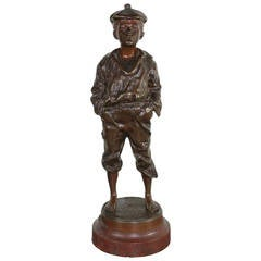 Boy in Patinated Bronze, Signed and Dated