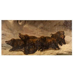 Giant Oil Painting of Wild Boar Hunting