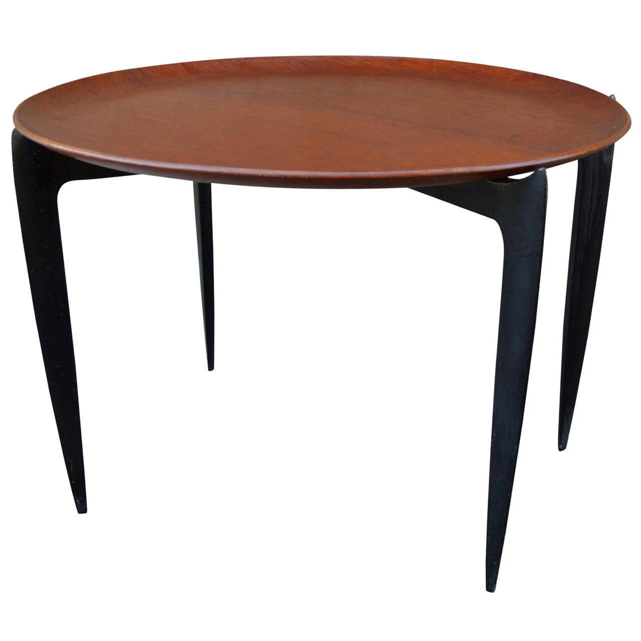 Circular Teak Tray Table by H. Engholm & Svend Willumsen for Fritz Hansen