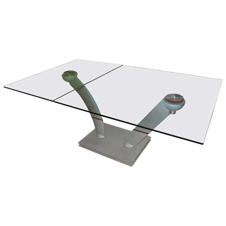 Swivel Expandable Glass And Steel Dining Table For Sale At 1stdibs