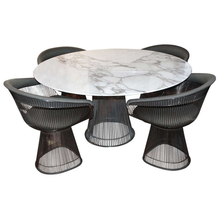 White Marble Arabesque Side Table: Warren Platner Arabesque Marble Dining Table With Four