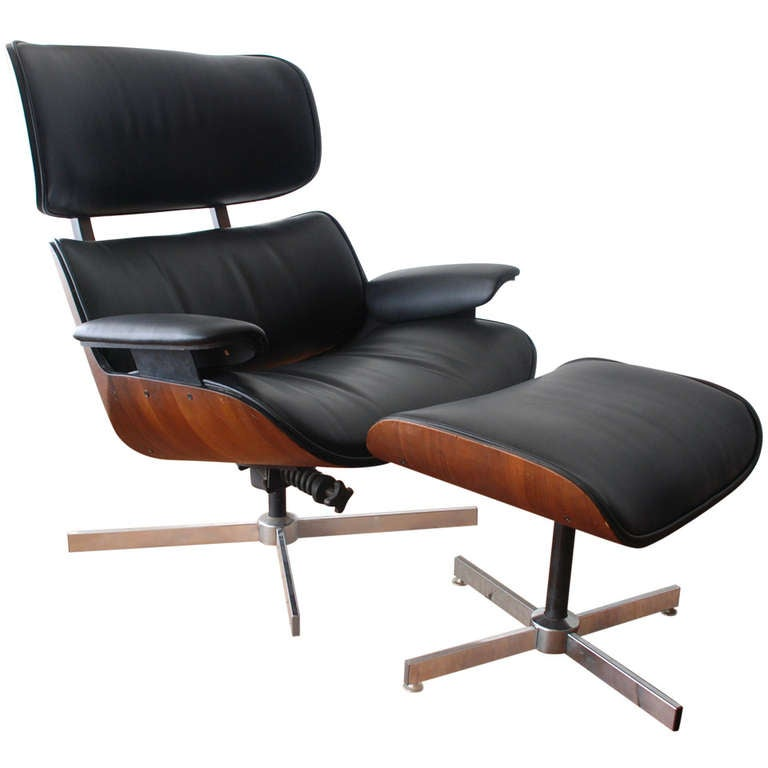 George Mulhauser for Plycraft Bentwood Lounge Chair and Ottoman at 1stdibs