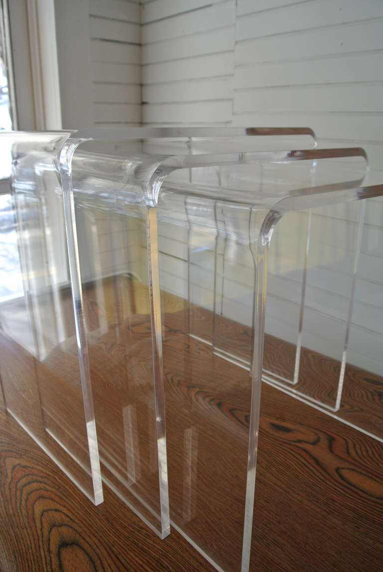 Set of three acrylic lucite nesting tables for sale at stdibs