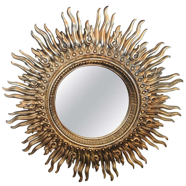 Large Convex Mirror on Gilded Resin Sunburst Frame at 1stdibs