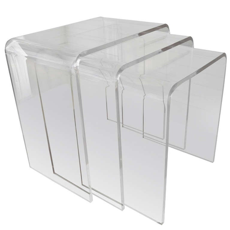 Set Of Three Acrylic Lucite Nesting Tables 1