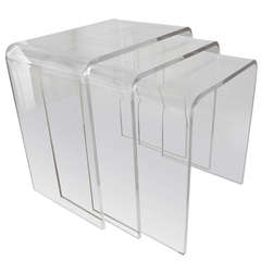 Set of Three Acrylic Lucite Nesting Tables