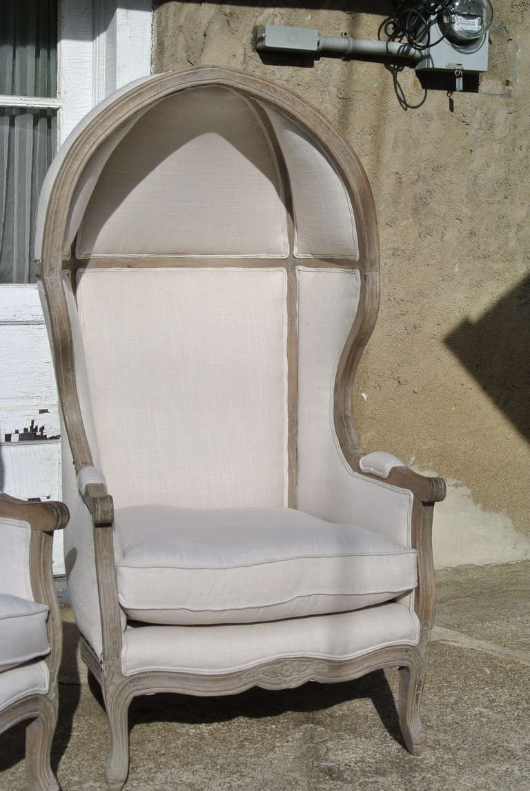 Pair of French White Linen Canopy Hood Bishops Chairs In Excellent Condition For Sale In Morristown, NJ