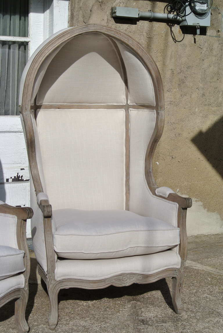 20th Century Pair of French White Linen Canopy Hood Bishops Chairs For Sale