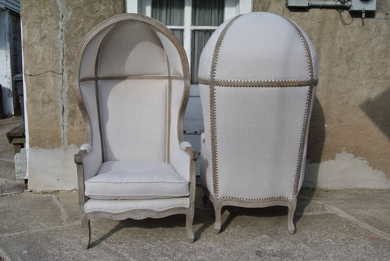 Country Pair of French White Linen Canopy Hood Bishops Chairs For Sale