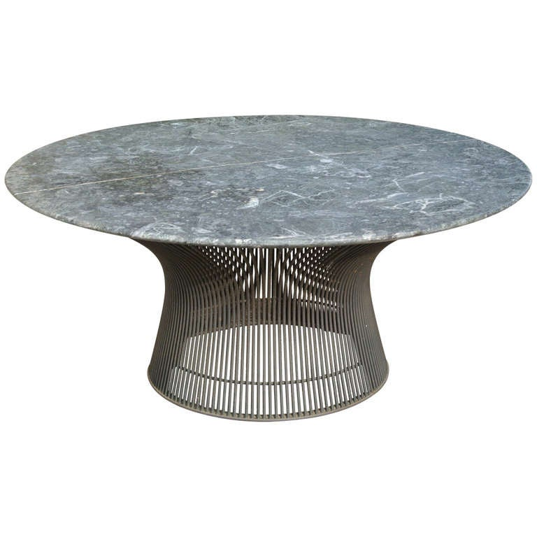 Warren platner bronze coffee table base with green marble for Table warren platner