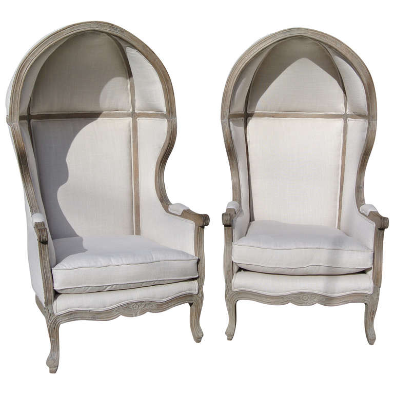 Pair of French White Linen Canopy Hood Bishops Chairs For Sale