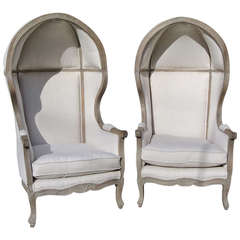 Beau Pair Of French White Linen Canopy Hood Bishops Chairs