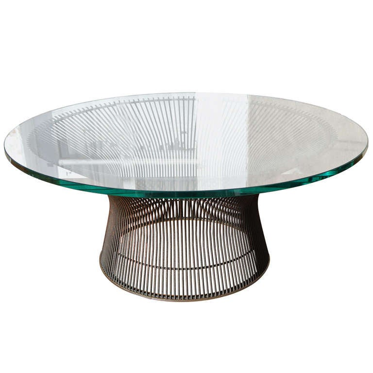 warren platner bronze coffee table base with glass top for