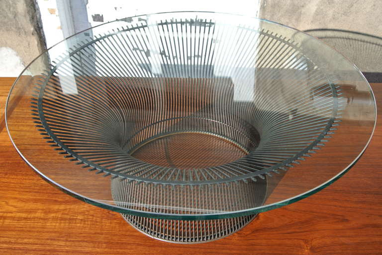 Mid Century Modern Warren Platner Bronze Coffee Table Base With Glass Top  For Knoll For