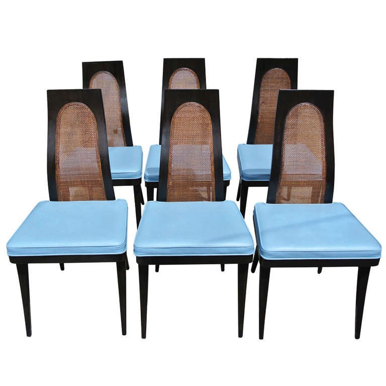 set of six harvey probber sculpted cane back dining chairs at 1stdibs