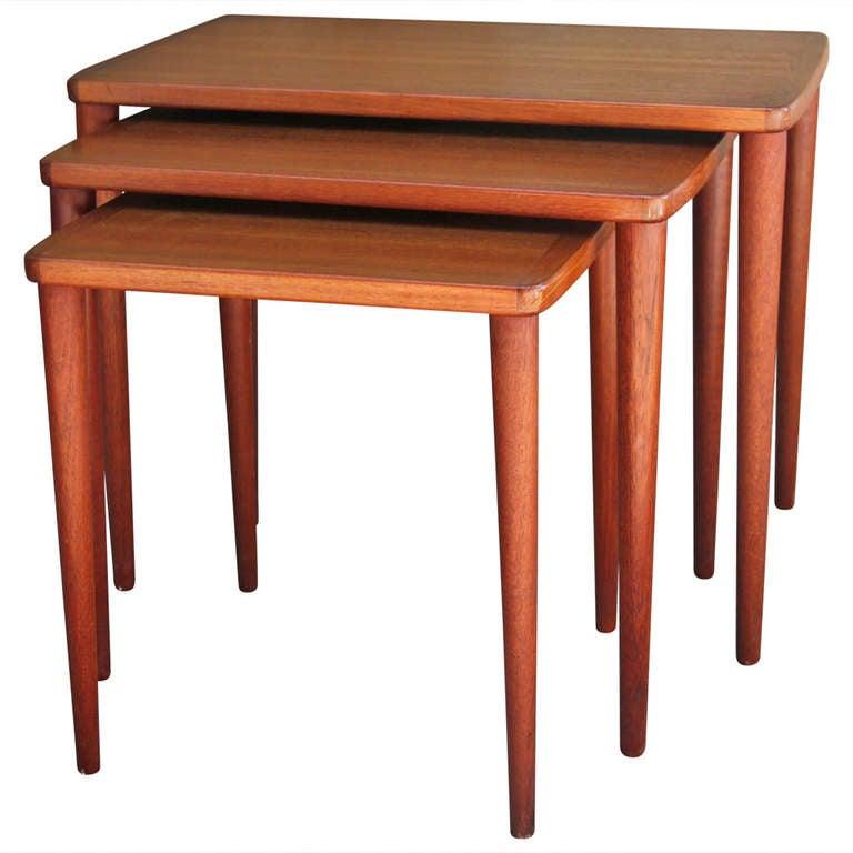 Scandinavian teak nesting tables at stdibs