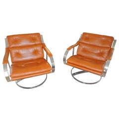 Gardner Leaver for Steelcase Oversized Nickel and Leather Club Chairs