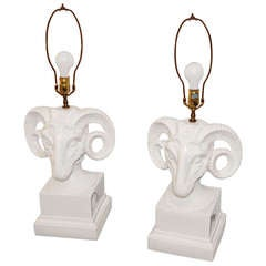 Pair of Porcelain Ceramic Ram's Head Decorator Lamps