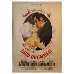 Vintage Italian Lithograph Movie Poster of Elizabeth Taylor in Lord Brummell