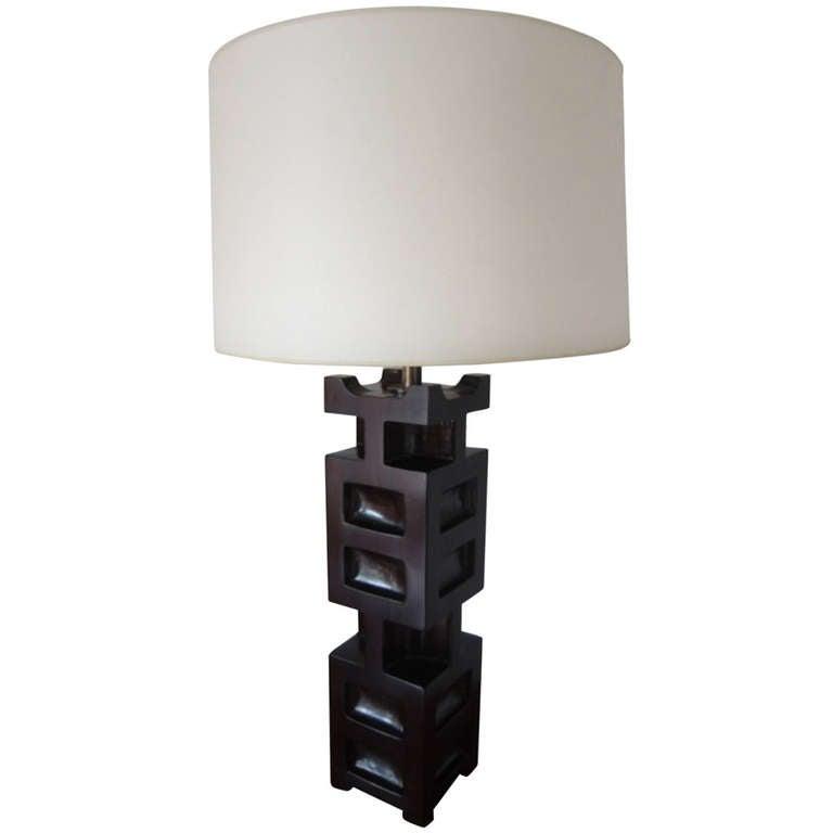 james mont large sculptural wood table lamp at 1stdibs. Black Bedroom Furniture Sets. Home Design Ideas