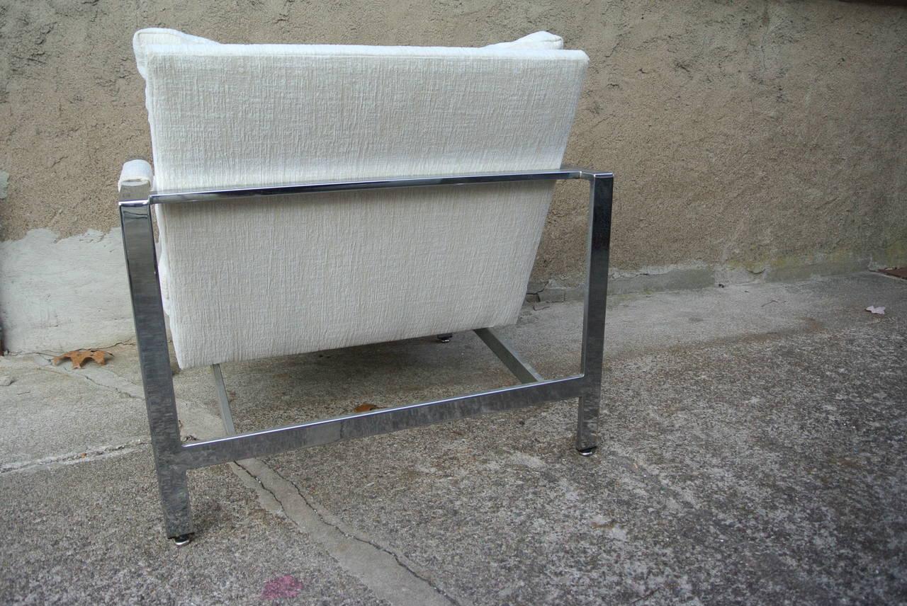 Milo Baughman Chrome Cube Flat Bar Chair For Sale at 1stdibs