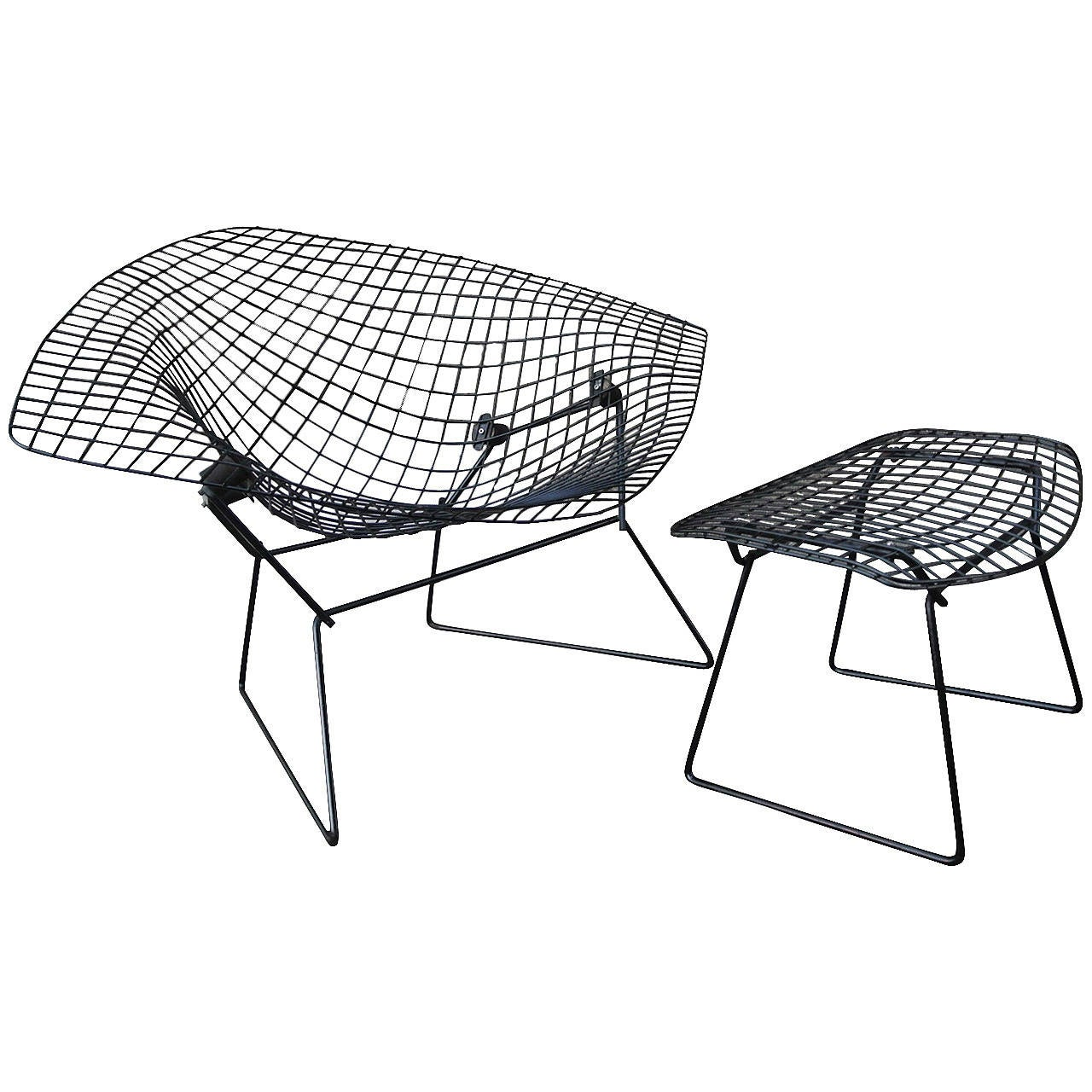 Bertoia diamond chair black - Diamond Chair W Ottoman By Harry Bertoia For Knoll 1