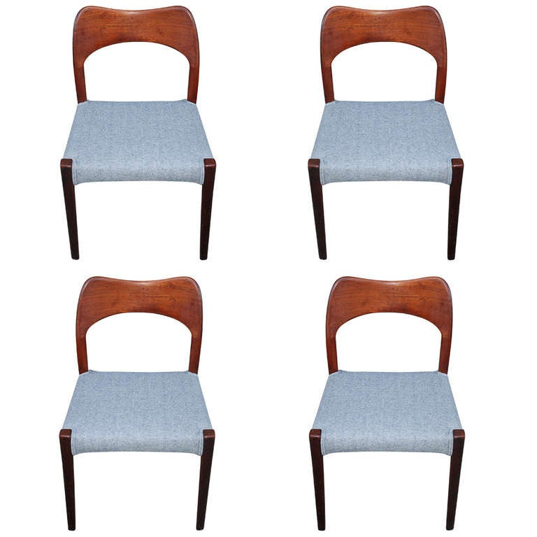 Set Of Four Sculpted Danish Dining Chairs Attr J L Moller At 1stdibs