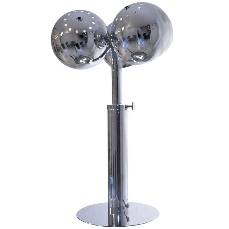 Chrome table lamp,    Signed J. Bouvier, Paris     Adjustable