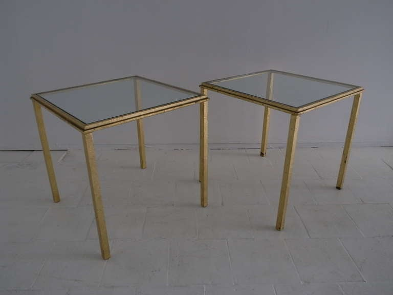 Pair of perfect gold leaf side table by Roger Thibier.