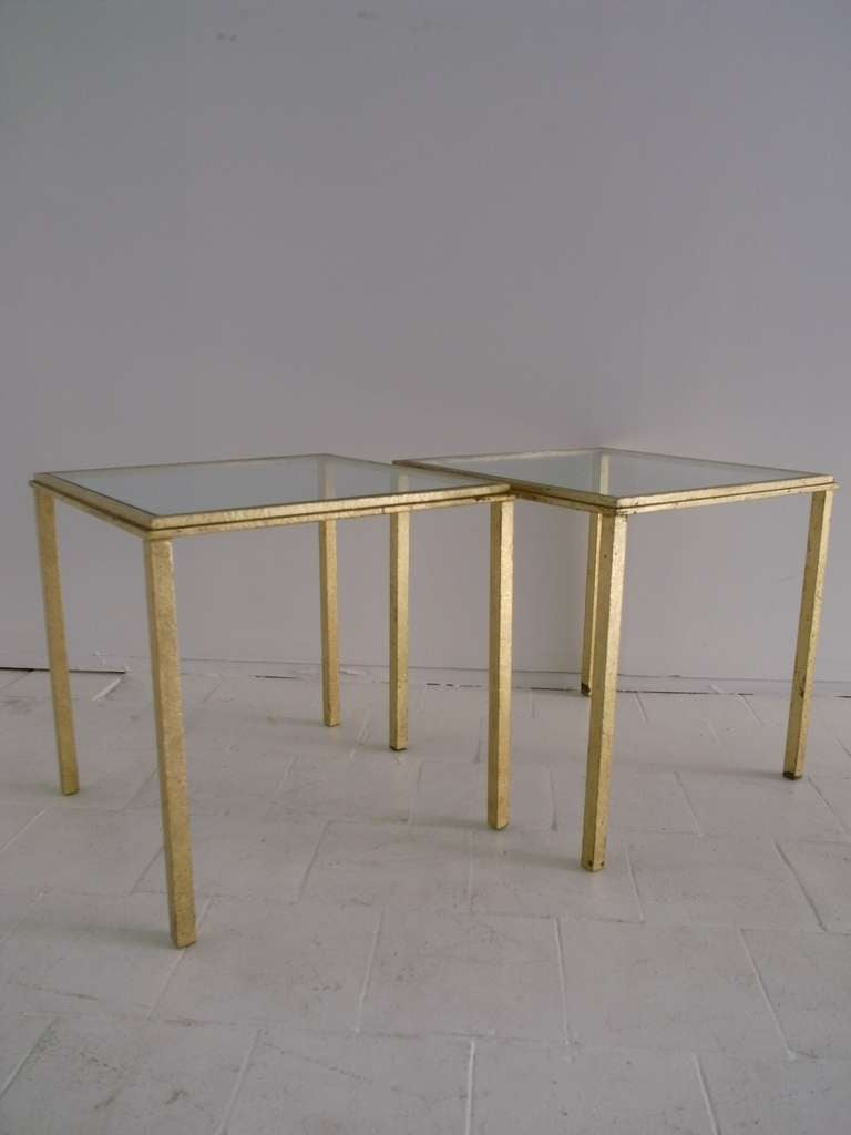 Mid-20th Century Roger Thibier Pair of Gold Leaf Side Table For Sale