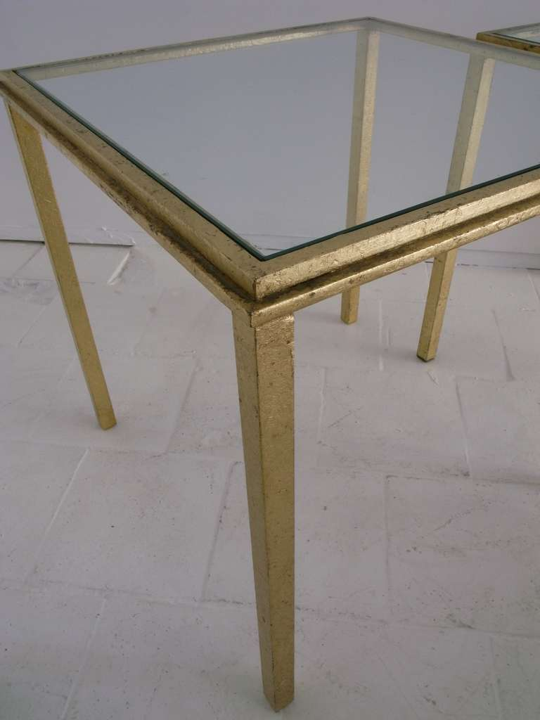 Mid-Century Modern Roger Thibier Pair of Gold Leaf Side Table For Sale