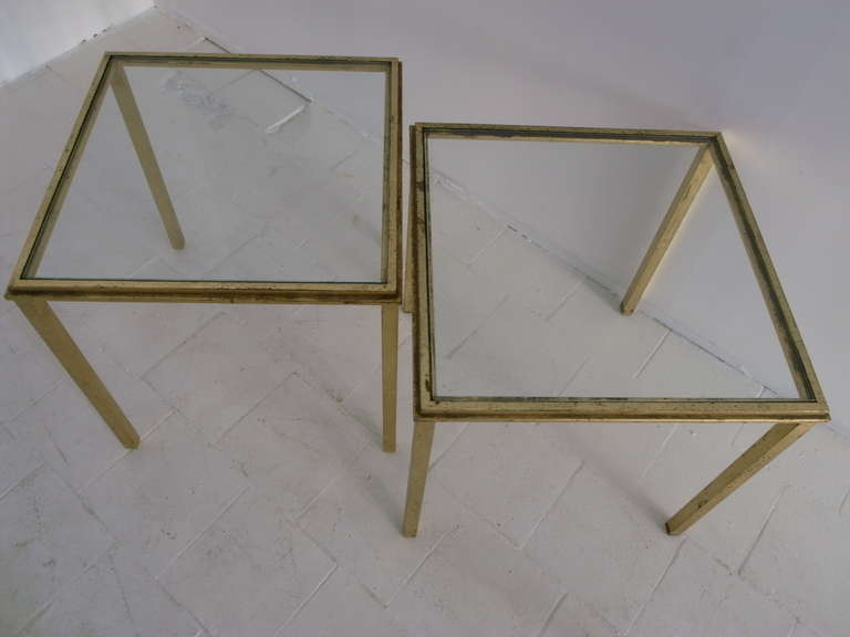 Roger Thibier Pair of Gold Leaf Side Table In Excellent Condition For Sale In London, GB