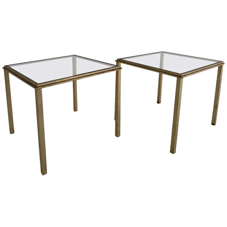 Roger Thibier Pair of Gold Leaf Side Table For Sale