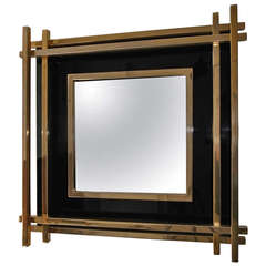 Romeo Rega black lucite and gold frame Mirror   Willy Rizzo