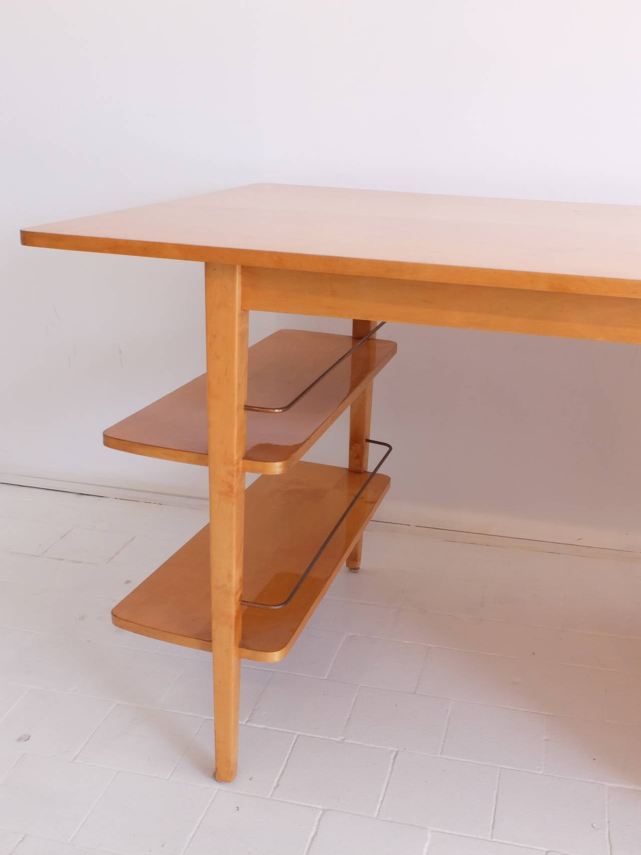 Mid Century Double Sided Executive Birch Desk Imexcotra