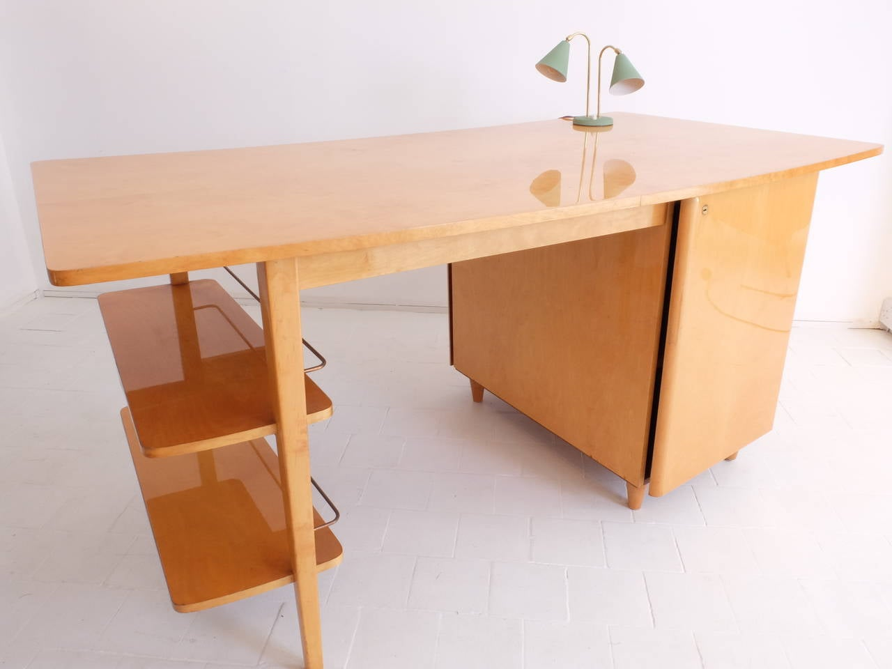 Fabulous Mid Century Double Sided Executive Birch Desk Imexcotra Download Free Architecture Designs Scobabritishbridgeorg
