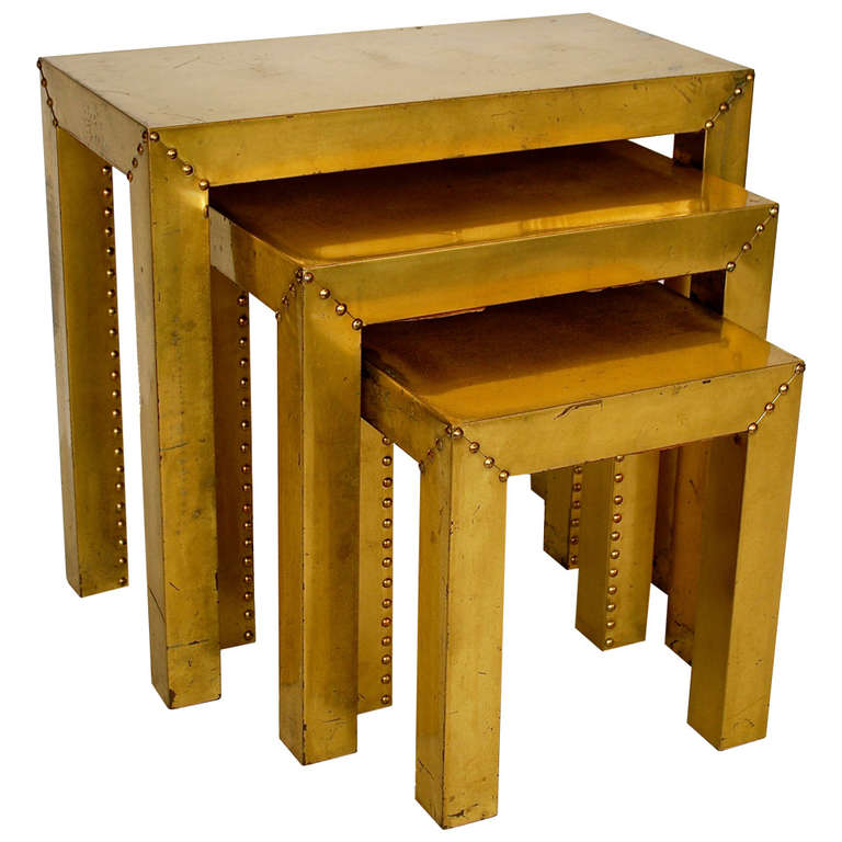 Sarreid Ltd Rare Brass Nesting Tables at 1stdibs