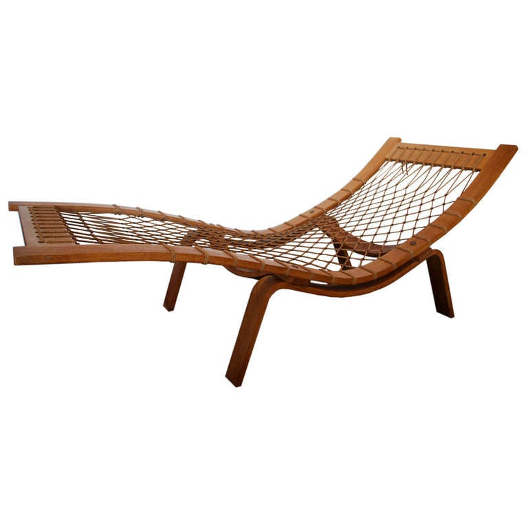 Hans wegner chaise lounge at 1stdibs for Chaise and a half lounge