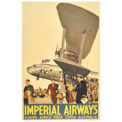"Original Art Deco ""Imperial Airways"" Poster Brenet"
