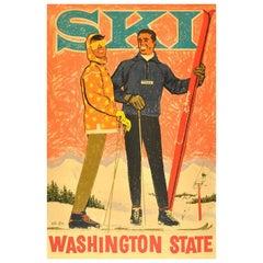 Original Vintage Ski Poster - Washington State Pacific Northwest Ski Association