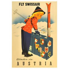 Original Vintage Ski Poster Promoting Winter Sports in Austria, Fly Swissair