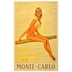 Original Vintage Travel Poster Advertising Monte Carlo, Monaco by J-G Domergue