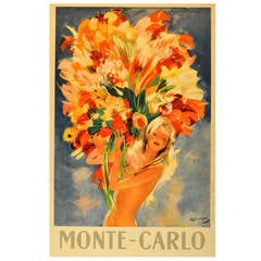 Monte Carlo Flower Girl - Original Vintage Travel Advertising Poster by Domergue