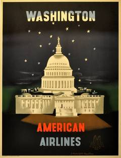 Washington - Original Vintage American Airlines Poster by E. McKnight Kauffer