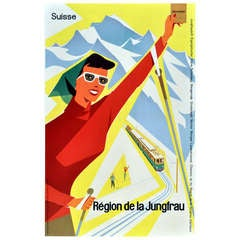 Original Vintage Ski Poster Advertising the Jungfrau Region Switzerland by Train