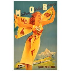 Original Vintage Poster for the Montreux Oberland Bernois Railway, Switzerland